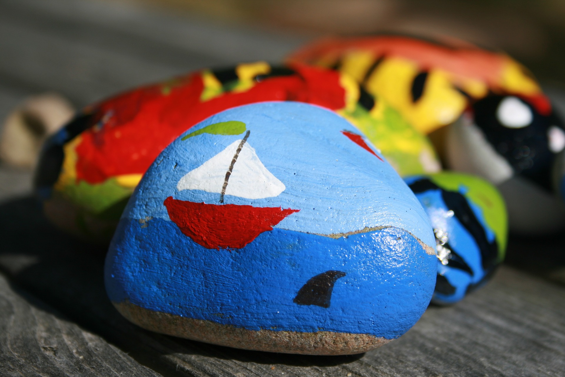 Rock painting as a senior activity.